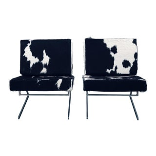 Stainless Steel Frame and Cowhide Cushions Armless Lounge Chairs - a Pair For Sale