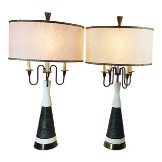 Vintage Faip Mid-Century Modern Egyptian Hieroglyphs Chalkware Brass Lamps with Original Shades - a Pair For Sale