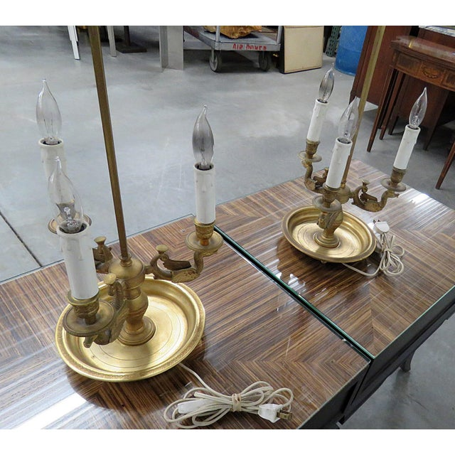 Early 20th Century Empire Style 3 Arm Bouillotte Lamps - a Pair For Sale - Image 5 of 6