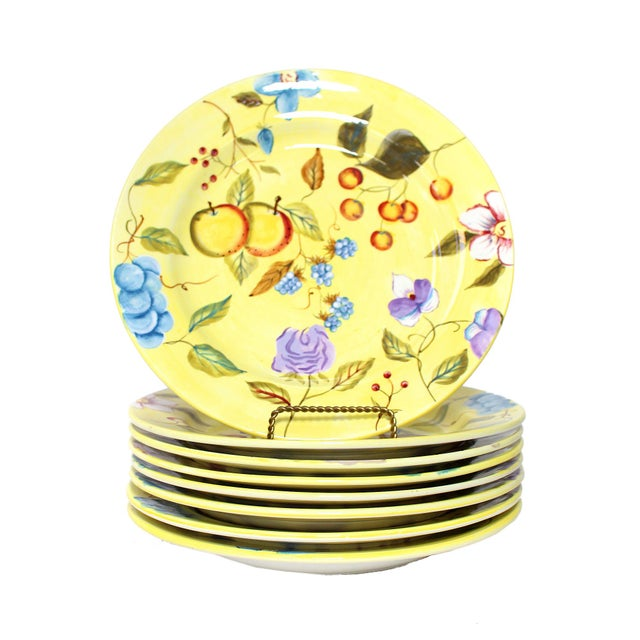 """Majolica Hand Painted Zrike Dinner Plates """"Flora"""" Pattern - Set of 8 For Sale - Image 4 of 4"""