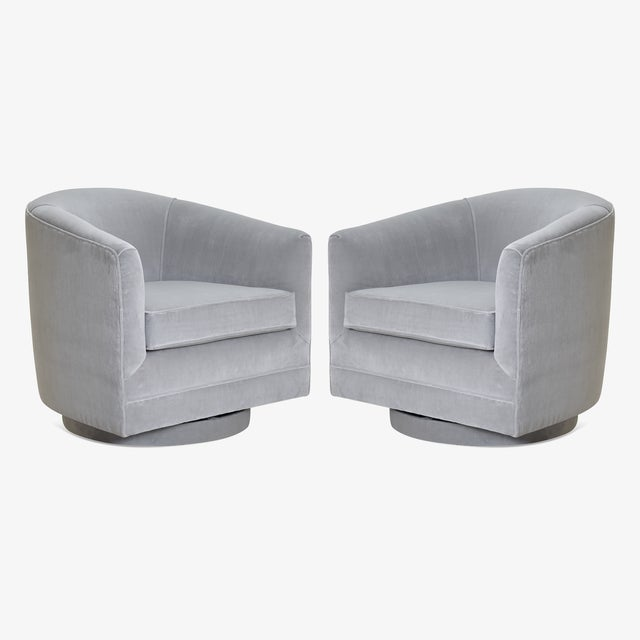 Gray Swivel Tub Chairs in Dove Velvet, Pair For Sale - Image 8 of 8