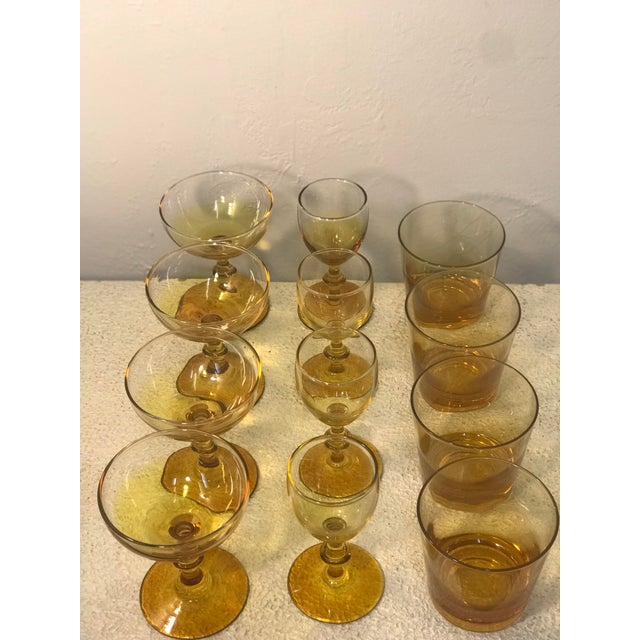 1960s Yellow Carlo Moretti Style Bar Glass Set of 12 For Sale In Sacramento - Image 6 of 7