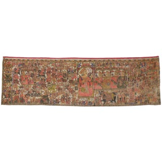 Mid-19th Century Antique Indian Wall Tapestry, 04'09 X 16'00 For Sale