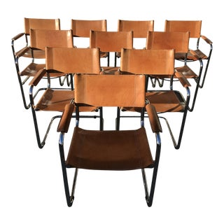 Mart Stam Saddle Leather Dining Chairs - Set of 10