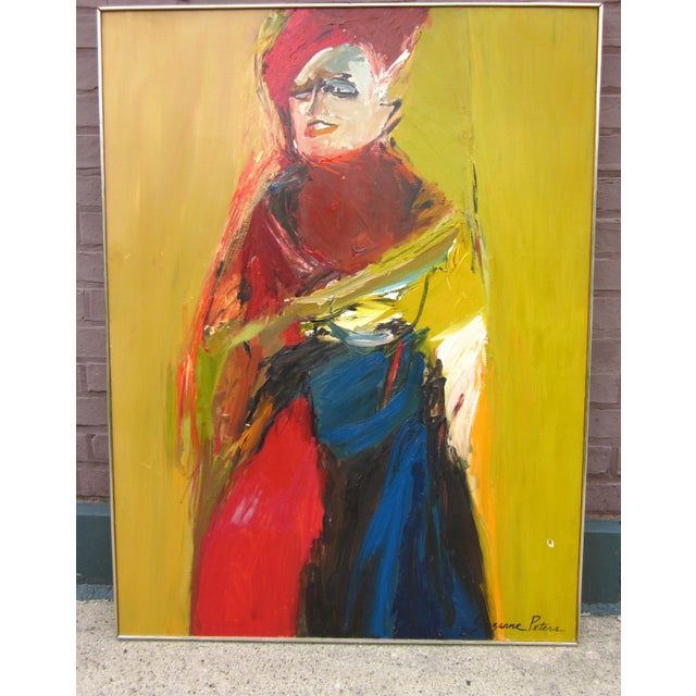 Contemporary 1970s Vintage Suzanne Peters Expressionist Style Portrait Oil on Board Painting For Sale - Image 3 of 11