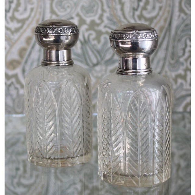 Henri Lapeyre Crystal & Sterling Decanters - Pair - Image 2 of 2