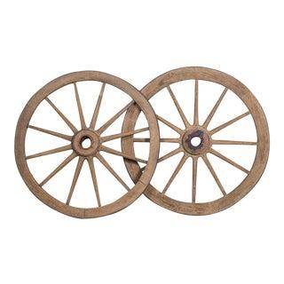 Pair Antique French Iron Bound Wagon Wheels circa 1880