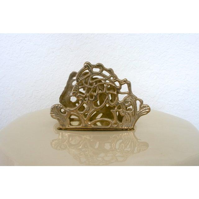 1980s Vintage Brass Teleflora Letter / Napkin Holder For Sale - Image 5 of 9