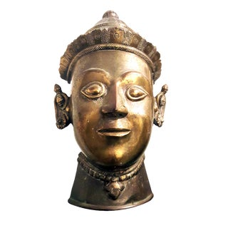 "19th Century Thai ""Siamese Palace Guard"" Brass Head Bust Mask Style Sculpture For Sale"