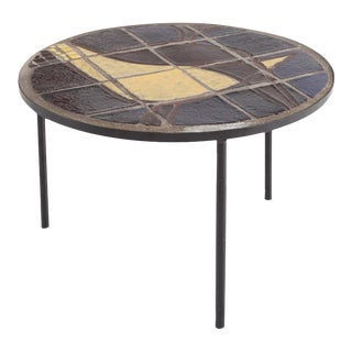 Mid-Century Coffee Table With Black Steel Frame & Mosaic Inlay For Sale