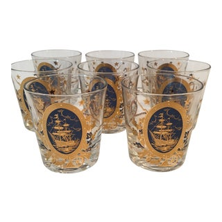 """Gad Fad Signed Mid-Century """"Uss Constitution Ship's"""" Barware Glasses - Set of 8 For Sale"""