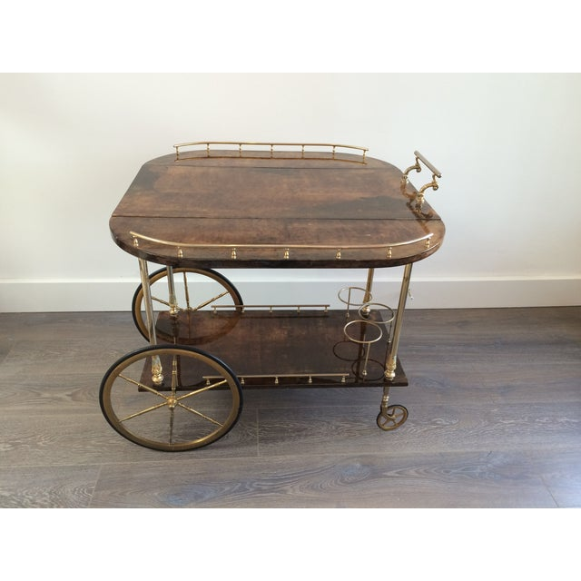 Aldo Tura '50s Brass & Lacquered Goatskin Bar Cart - Image 4 of 11
