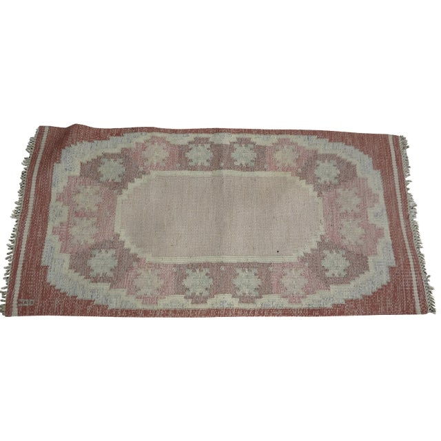 Swedish Mid-Century Flat-Weave Rug - 2′8″ × 5′7″ For Sale