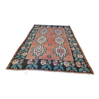 Antique Turquoise & Pink Floral Rug- 6′6″ × 9′7″ For Sale