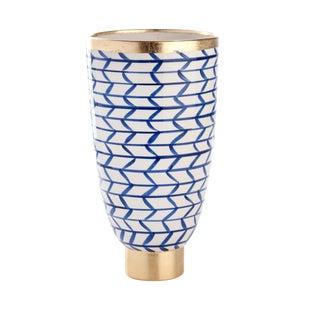 Contempo Collection Decorative Geometric Ceramic Vase For Sale
