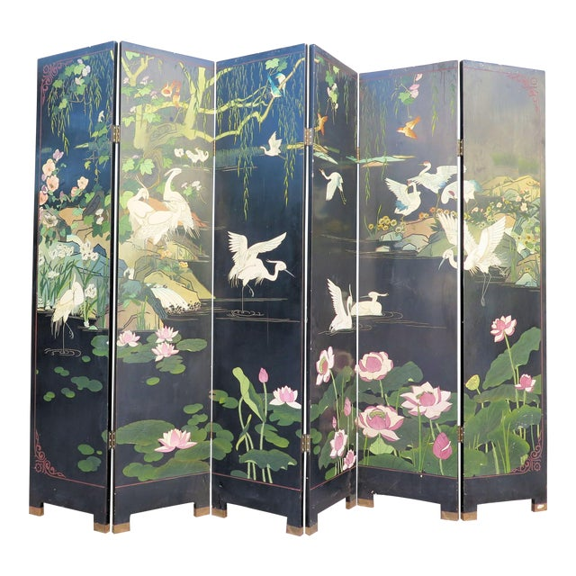 1940's Monumental 6-Panel Japanese Screen For Sale