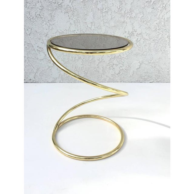 Brass and Bronze Glass Spiral Occasional Tables by Pace Collection - A Pair For Sale In Palm Springs - Image 6 of 9