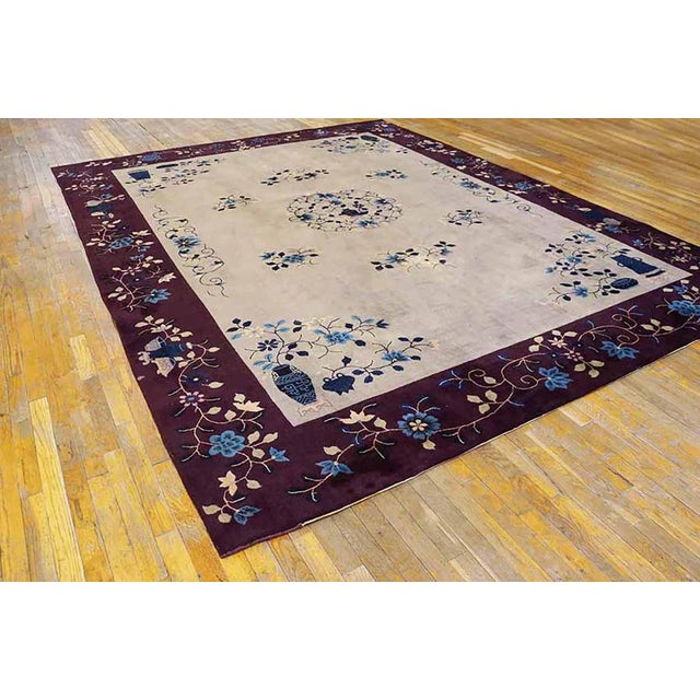 """1920s 1920s Antique Art Deco Chinese Rug-8'10"""" X 11'6"""" For Sale - Image 5 of 5"""
