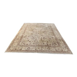 Contemporary Beige & Red Pakistani Wool Area Rug - 9′ × 11′10″ For Sale