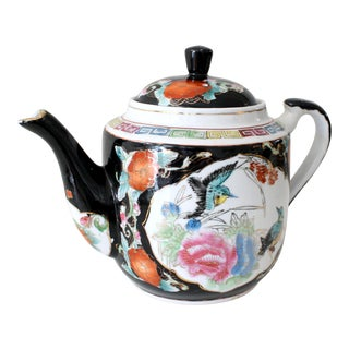 Chinoiserie Style Chinese Black Gold and Multi-Colored Greek Key Teapot For Sale