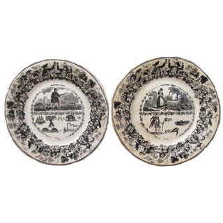 Antique French Transferware Rebus (Riddle) Plates, Pair For Sale