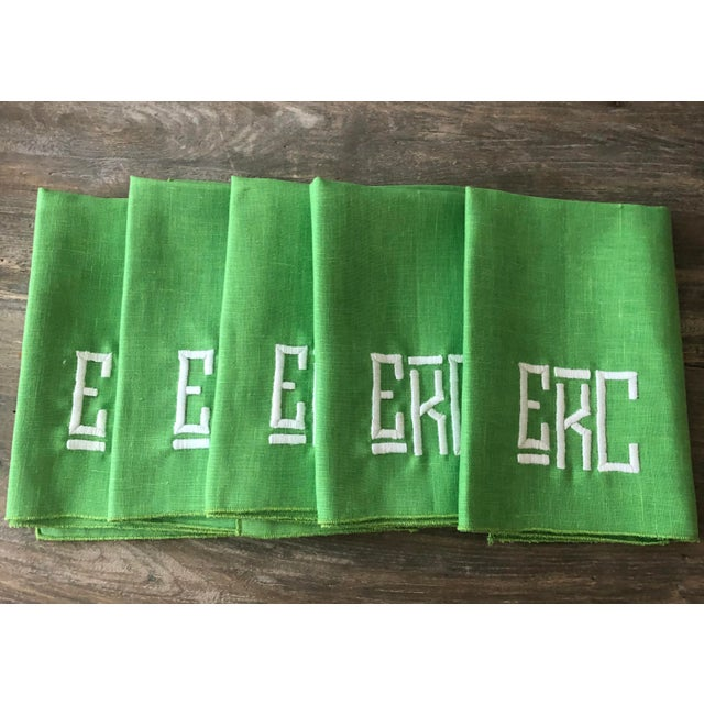 Contemporary 1990s Kelly Green Monogrammed Napkins, For Sale - Image 3 of 6