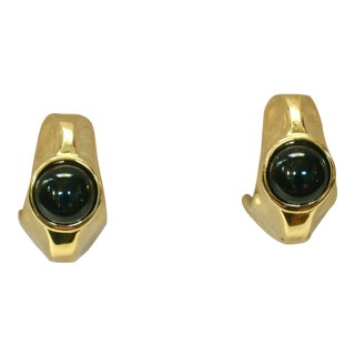 Givenchy Onyx Cabochon Gold-PLated Earrings For Sale