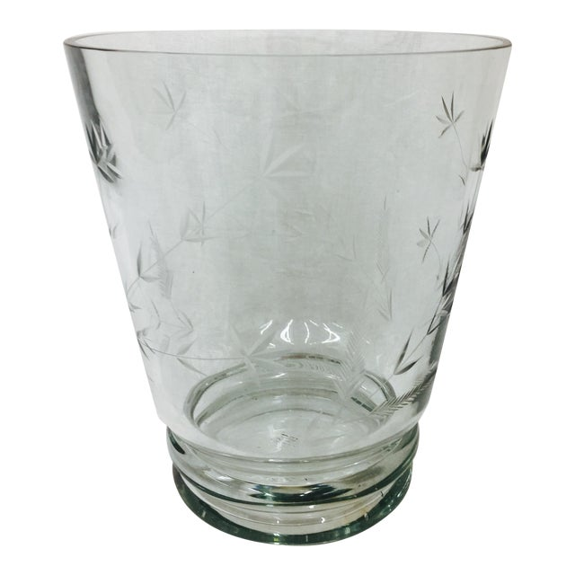 Large Etched Glass Vase For Sale