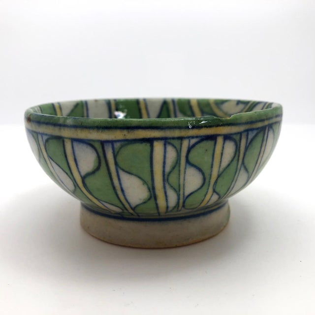 Early 20th Century Early 20th Century Green and White Patterned Tin Glazed Small Ceramic Bowl For Sale - Image 5 of 13