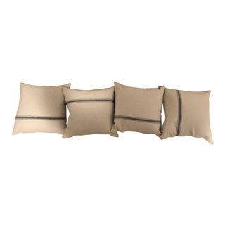 French Linen Striped Decorative Pillows - Set of 4 For Sale