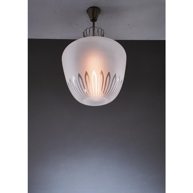 Mid-Century Modern Large Swedish frosted glass and brass pendant, 1940s For Sale - Image 3 of 5