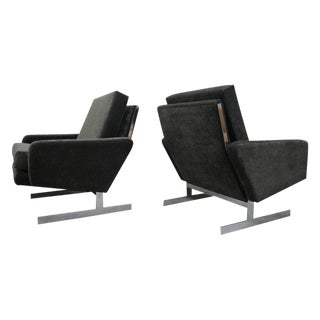Pair of Mid Century Chrome Cantilever Lounge Chairs - Milo Baughman Style