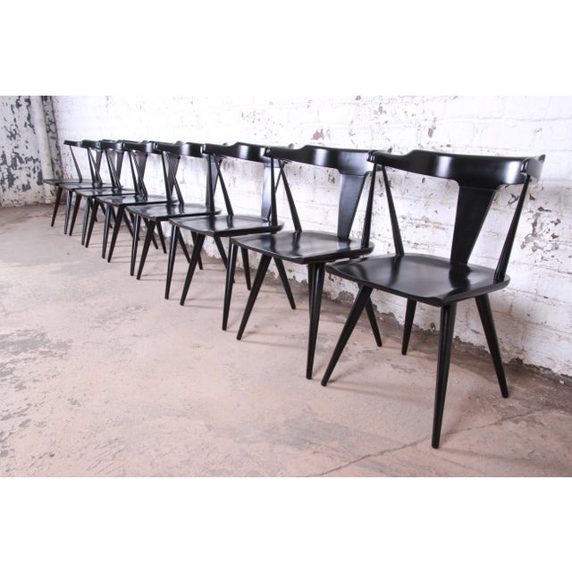 Contemporary Paul McCobb Planner Group T-Back Black Lacquered Solid Maple Dining Chairs, Set of Eight For Sale - Image 3 of 13