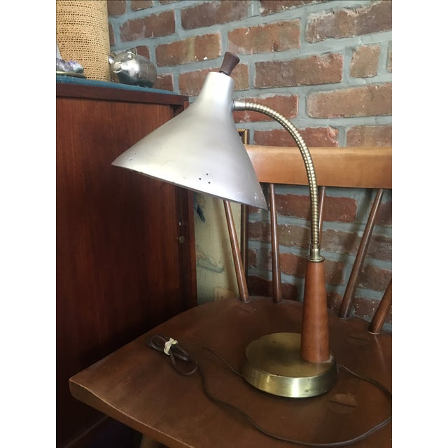 Vintage Metal & Wood Industrial Desk Lamp - Image 3 of 4