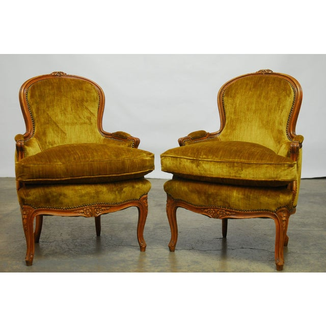 Louis XV Handcarved Topaz Velvet Bergeres - A Pair - Image 2 of 8