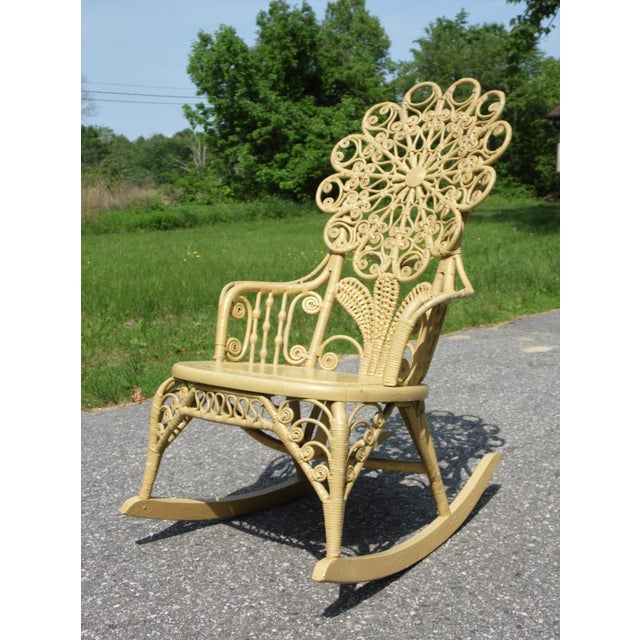 Yellow Antique Victorian Ornate Wicker Portrait Rocking Chair Rocker For Sale - Image 8 of 13
