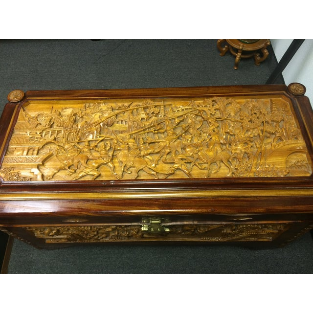 Ornate Hand-Carved Asian Chest For Sale - Image 7 of 11