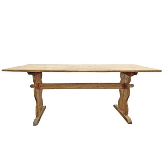 18th Century Swedish Pine Trestle Dining Table For Sale