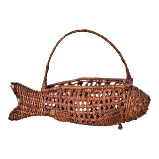 1970s Vintage Fish Basket For Sale