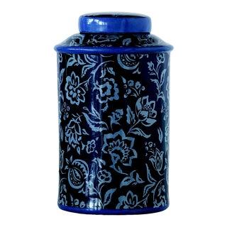 Madcap Cottage Floral-Pattern Porcelain Lidded Jar For Sale
