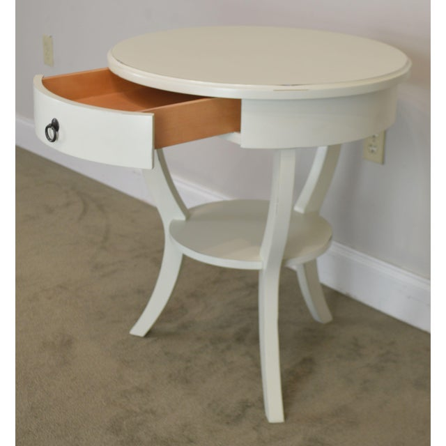 Round White One Drawer Side Table For Sale - Image 12 of 13