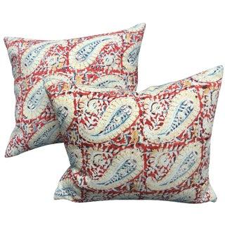 Indian Paisley Block Print Pillows - A Pair