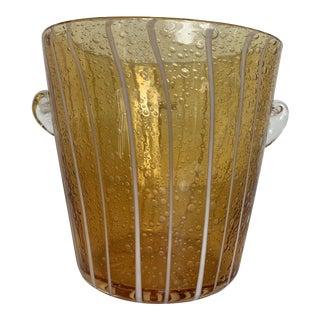 Amber Murano Glass Venini Ice Bucket For Sale
