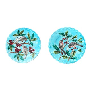 Late 19th Century Antique French Sarreguemines Majolica Plates- a Pair For Sale