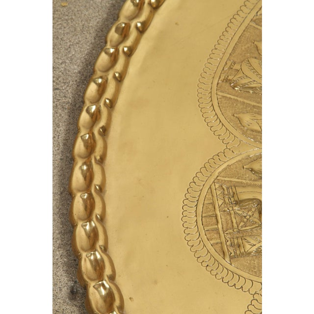Brass Large Brass Persian Hanging Tray For Sale - Image 7 of 9