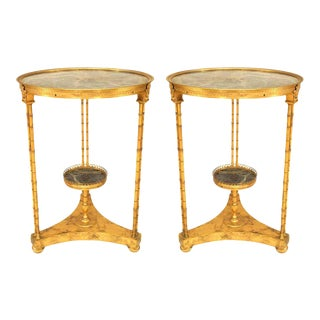 Mid 20th Century of French Charles X Faux Bamboo With Green Marble Tops - a Pair For Sale