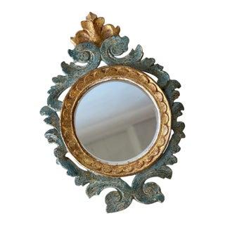 Vintage 1940s Italian Rococo Style Mini Verdigris + Gold Mirror For Sale