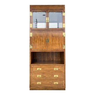 Campaign Henredon Lighted Bar Cabinet For Sale