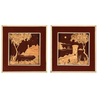 Pair of Vintage Cork Diorama Landscapes of Castles From England For Sale