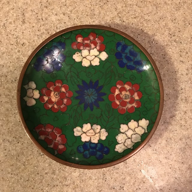Asian Chinese Enamel Cloisonné Tray For Sale - Image 3 of 10